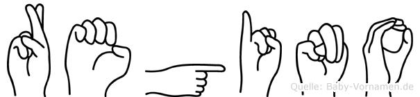 Regino im Fingeralphabet der Deutschen Gebärdensprache