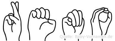Remo im Fingeralphabet der Deutschen Gebärdensprache