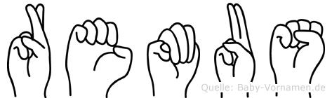 Remus im Fingeralphabet der Deutschen Gebärdensprache