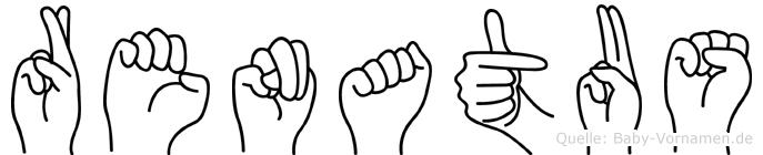 Renatus im Fingeralphabet der Deutschen Gebärdensprache
