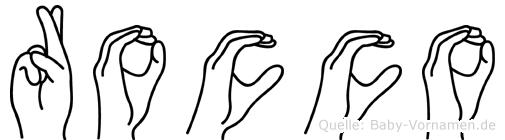 Rocco im Fingeralphabet der Deutschen Gebärdensprache