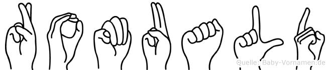 Romuald im Fingeralphabet der Deutschen Gebärdensprache