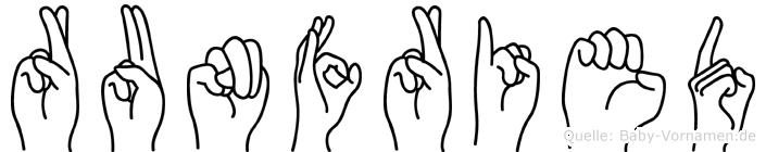 Runfried im Fingeralphabet der Deutschen Gebärdensprache