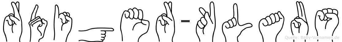 Rüdiger-Klaus im Fingeralphabet der Deutschen Gebärdensprache