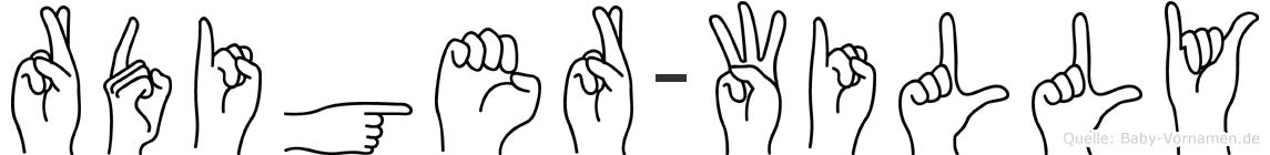 Rüdiger-Willy im Fingeralphabet der Deutschen Gebärdensprache