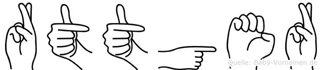 Rüttger im Fingeralphabet der Deutschen Gebärdensprache