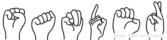 Sander im Fingeralphabet der Deutschen Gebärdensprache