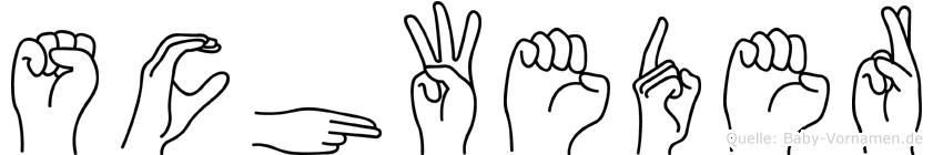 Schweder im Fingeralphabet der Deutschen Gebärdensprache