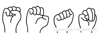 Sean in Fingersprache für Gehörlose