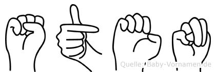 Sten im Fingeralphabet der Deutschen Gebärdensprache