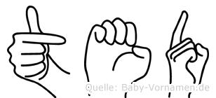 Ted im Fingeralphabet der Deutschen Gebärdensprache