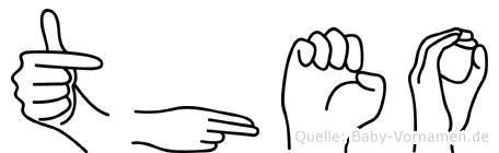 Theo im Fingeralphabet der Deutschen Gebärdensprache