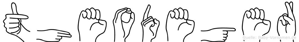 Theodeger im Fingeralphabet der Deutschen Gebärdensprache