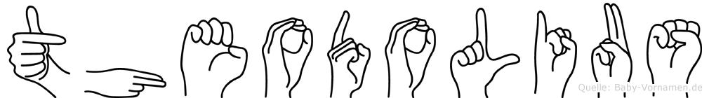 Theodolius im Fingeralphabet der Deutschen Gebärdensprache