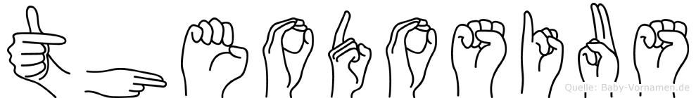 Theodosius im Fingeralphabet der Deutschen Gebärdensprache
