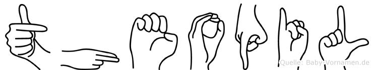 Theopil im Fingeralphabet der Deutschen Gebärdensprache