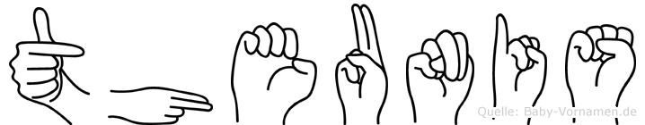 Theunis im Fingeralphabet der Deutschen Gebärdensprache