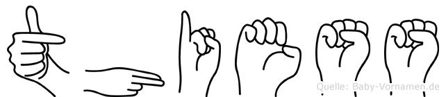 Thiess im Fingeralphabet der Deutschen Gebärdensprache