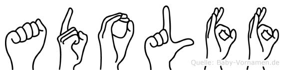 Adolff im Fingeralphabet der Deutschen Gebärdensprache