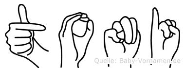 Toni im Fingeralphabet der Deutschen Gebärdensprache