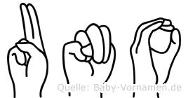 Uno im Fingeralphabet der Deutschen Gebärdensprache