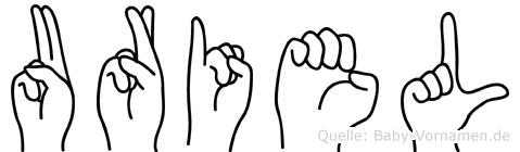 Uriel im Fingeralphabet der Deutschen Gebärdensprache