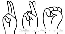 Urs im Fingeralphabet der Deutschen Gebärdensprache