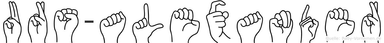 Urs-Alexander im Fingeralphabet der Deutschen Gebärdensprache