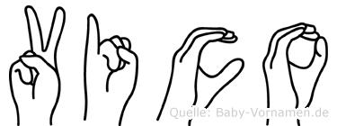 Vico im Fingeralphabet der Deutschen Gebärdensprache