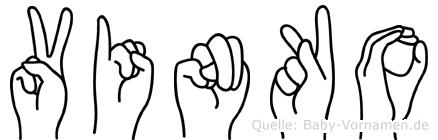 Vinko im Fingeralphabet der Deutschen Gebärdensprache