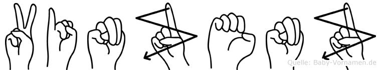 Vinzenz im Fingeralphabet der Deutschen Gebärdensprache