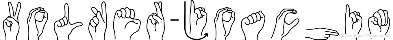Volker-Joachim im Fingeralphabet der Deutschen Gebärdensprache