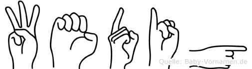 Wedig im Fingeralphabet der Deutschen Gebärdensprache