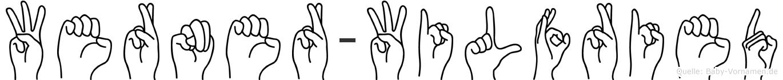 Werner-Wilfried im Fingeralphabet der Deutschen Gebärdensprache
