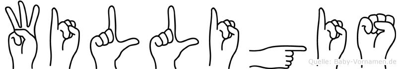 Willigis im Fingeralphabet der Deutschen Gebärdensprache