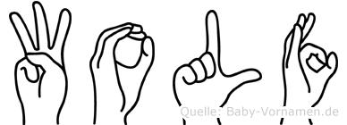 Wolf in Fingersprache für Gehörlose