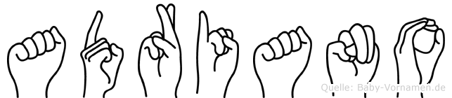 Adriano im Fingeralphabet der Deutschen Gebärdensprache