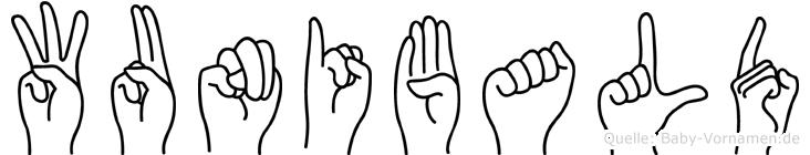 Wunibald im Fingeralphabet der Deutschen Gebärdensprache