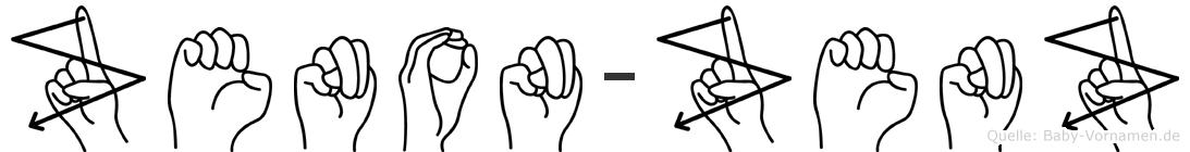 Zenon-Zenz im Fingeralphabet der Deutschen Gebärdensprache