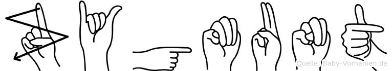 Zygmunt im Fingeralphabet der Deutschen Gebärdensprache
