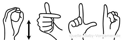 Ötli im Fingeralphabet der Deutschen Gebärdensprache