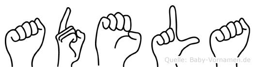 Adela im Fingeralphabet der Deutschen Gebärdensprache