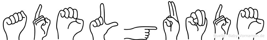Adelgunde im Fingeralphabet der Deutschen Gebärdensprache