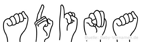 Adina im Fingeralphabet der Deutschen Gebärdensprache