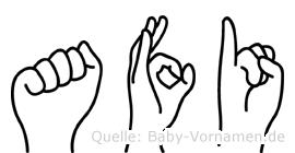 Afi im Fingeralphabet der Deutschen Gebärdensprache