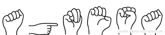 Agnesa im Fingeralphabet der Deutschen Gebärdensprache