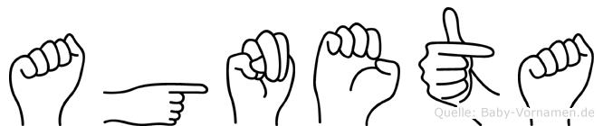Agneta im Fingeralphabet der Deutschen Gebärdensprache