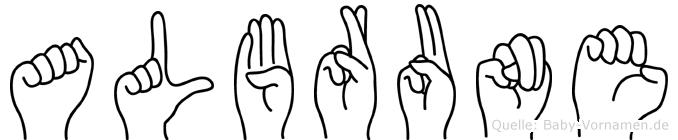 Albrune in Fingersprache für Gehörlose