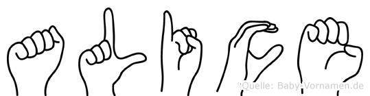 Alice im Fingeralphabet der Deutschen Gebärdensprache
