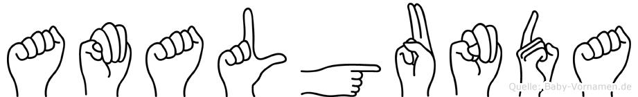 Amalgunda im Fingeralphabet der Deutschen Gebärdensprache